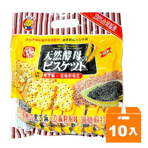 日日旺 黑芝麻+亞麻籽薄鹽蘇打餅 320g (10入)/箱【康鄰超市】