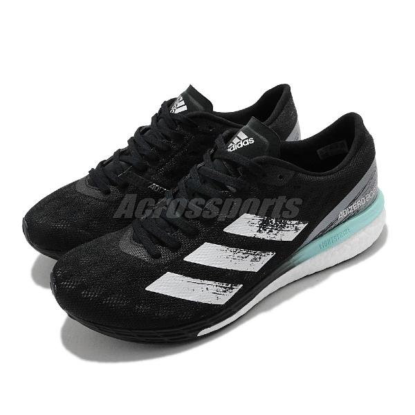 adidas 競速鞋 Adizero Boston 9 W 輕量 馬拉松 黑 白 綠 愛迪達 女鞋【ACS】 FY0342
