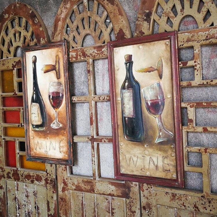 美式復古手繪裝飾畫 立體油畫 家居客廳墻上鐵皮畫酒吧咖啡廳壁畫1入