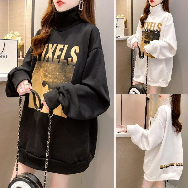M-XL實拍~冬裝新款韓版潮流時尚長袖寬鬆字母印花ins中長版加絨加厚上衣(2色)-凱西娃娃