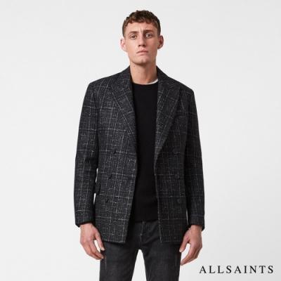 ALLSAINTS MERCER 紳士復古雙排釦格紋修身羊毛西裝外套-黑