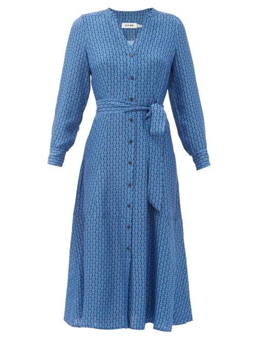 Cefinn - Davika Geometric-print Twill Shirtdress - Womens - Blue