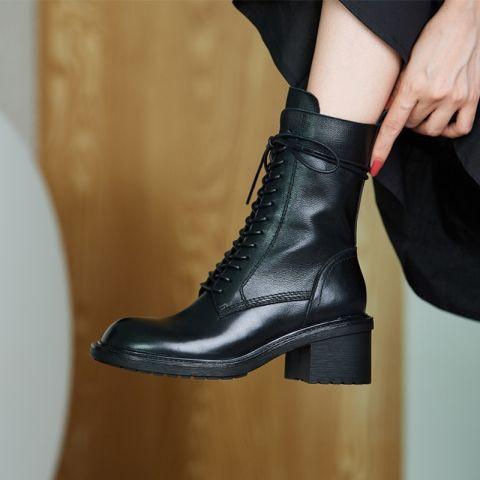 2021新款牛仔靴ins重磅推薦 巨巨好穿~新款ANN馬丁靴女英倫風真皮粗跟短靴