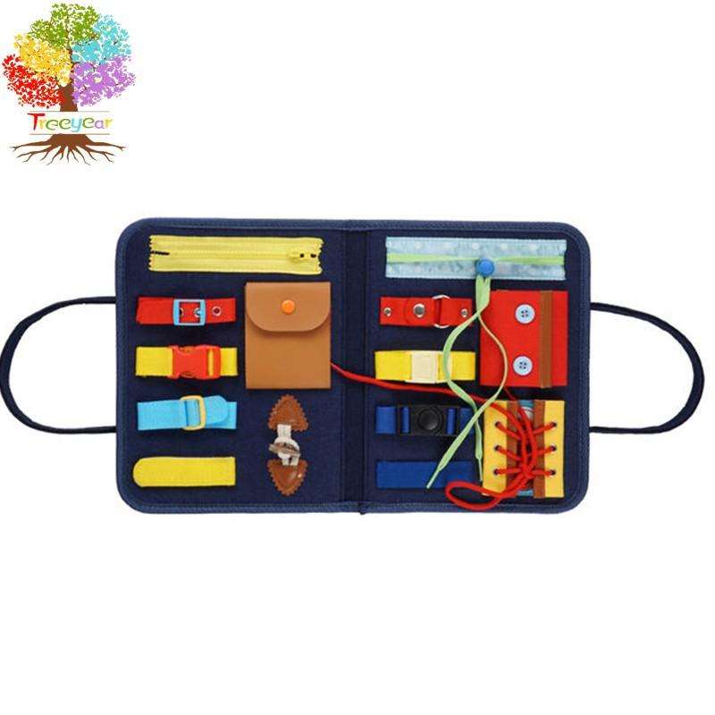 【樹年】蒙特梭利日常生活 幼兒玩具 可折疊14件套感官玩具 兒童生活早教益智玩教具 忙碌板 穿衣學習板