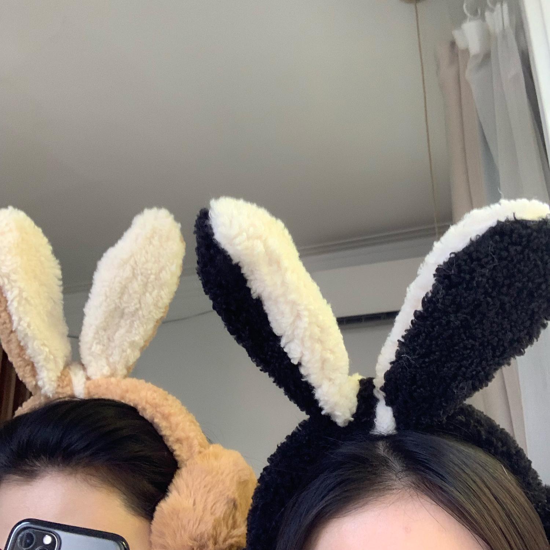可愛兔耳朵ins羊羔毛耳罩女韓版學生百搭耳暖冬天保暖毛絨耳捂子1入