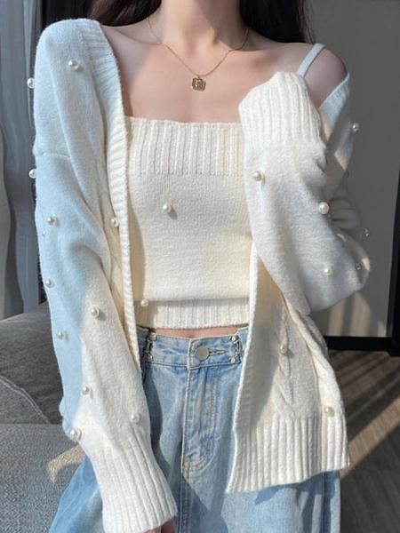 毛衣外套 冬季2021年新款爆款寬松外穿白色針織開衫女裝春溫柔風毛衣【快速出貨八折下殺】