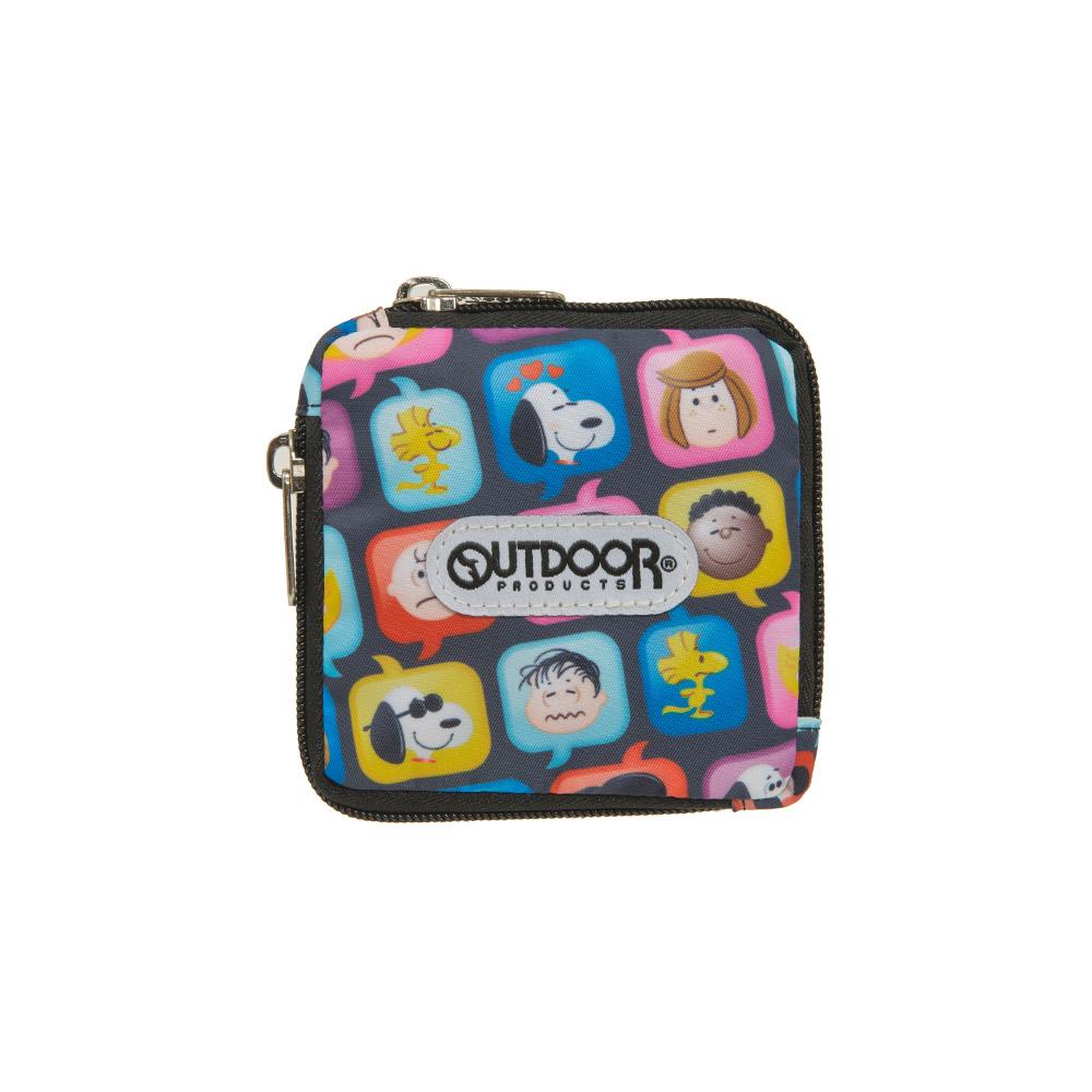 【OUTDOOR】SNOOPY聯名款emoji方型雙拉鍊零錢包-黑 ODP21A04BK