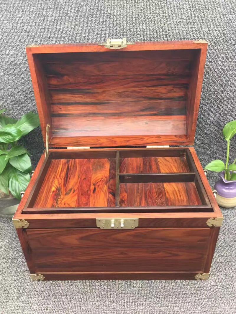大紅酸枝木素面中式復古珠寶首飾收納箱實木質紅木百寶箱多層帶鎖1入