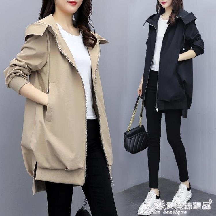 風衣外套 2020春秋新款韓版休閒氣質卡其連帽風衣女中長款寬鬆黑色短外套