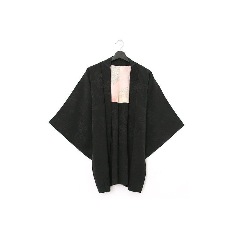 Back to Green-日本帶回羽織 壓紋捲曲花卉 /vintage kimono