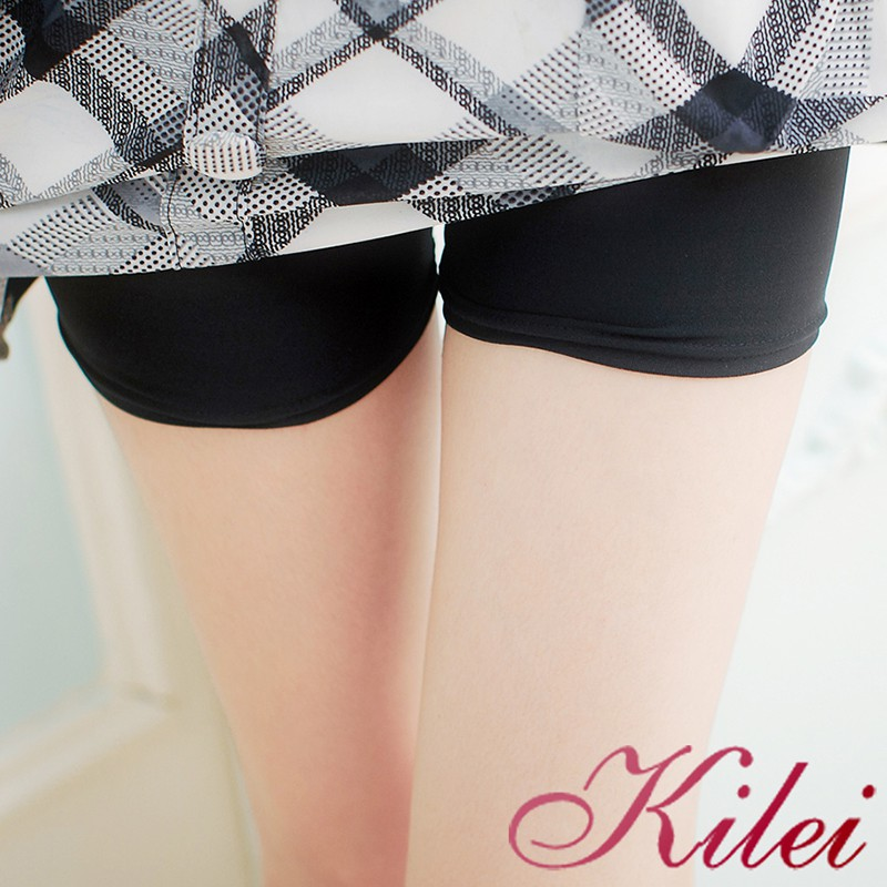 Kilei 舒適百搭小物棉質防走光美腿安全褲XA1554-16(平口黑)大尺碼 廠商直送