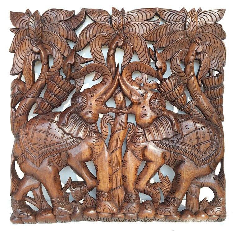 泰國柚木雕花板 60cm正方形 大象椰子樹 泰北玫瑰樣式全1入