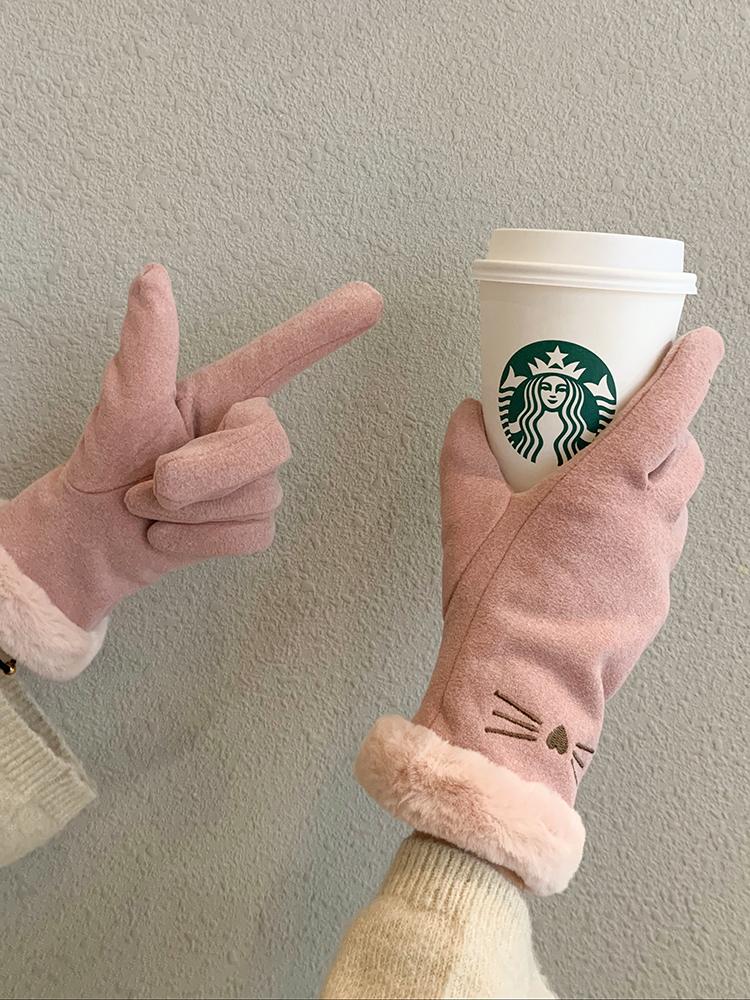 手套女冬天保暖加厚可愛ins冬韓版騎車防風防寒加絨五指手套騎行