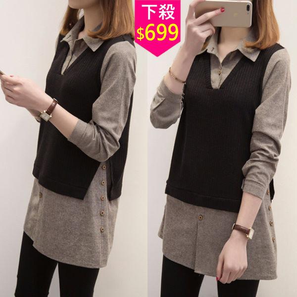 XL-5XL假兩件針織多扣拼接長版襯衫 大碼顯瘦襯衫(單色黑色)-優美依戀