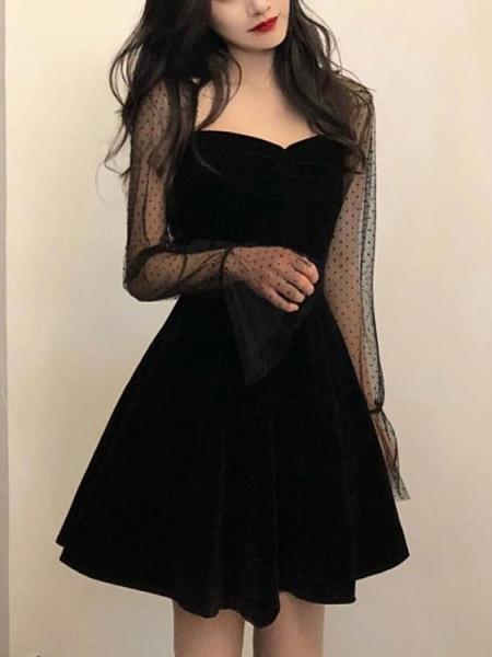 年會禮服 年會宴會晚禮服女秋冬裝新款法式小黑裙內搭連衣裙小個子【快速出貨八折下殺】