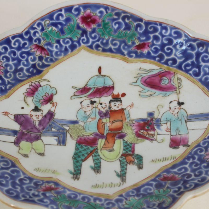 景德鎮仿古瓷器  全手繪粉彩麒麟送子圖果盆  古玩古董收藏 果盆1入