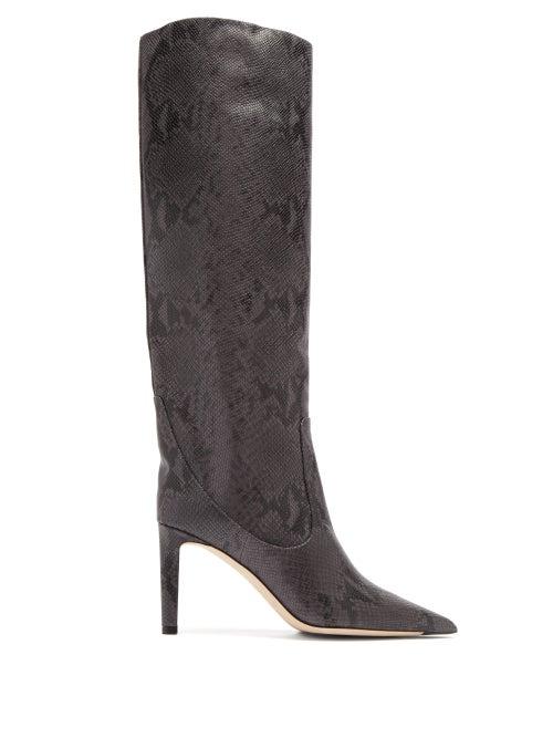 Jimmy Choo - Mavis 85 Python-effect Leather Knee-high Boots - Womens - Dark Grey
