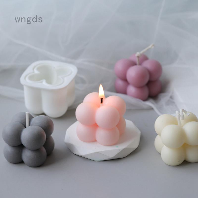 Diy 蠟燭模具香薰石膏蠟燭 3d 矽膠模具手工大豆立方體肥皂模具