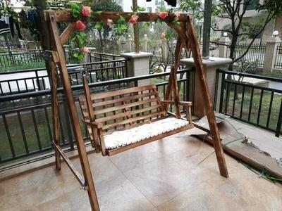 戶外鞦韆 實木鬆木 防腐木碳化鞦韆 戶外吊椅 時尚雙人鞦韆 椅實木鞦韆T