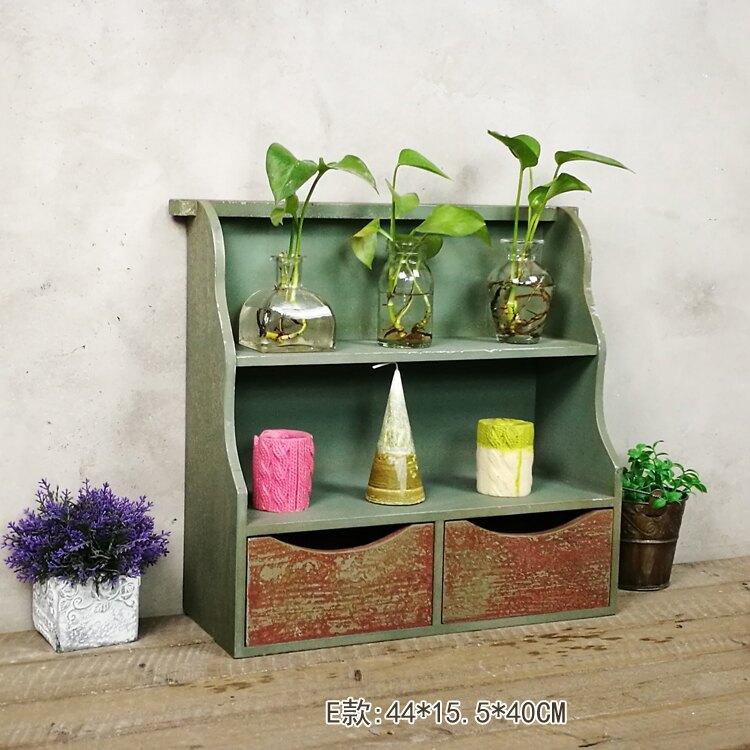 木制做舊墻上壁柜 復古風多款吊柜置物架 家居裝飾掛鉤衣帽鉤壁飾1入