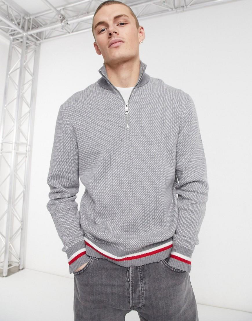 Tommy Hilfiger global stripe hem half zip knit jumper in dark grey heather