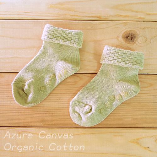 台灣 藍天大地 100%有機棉反摺襪/幼童/襪子(彩綠)9~16cm