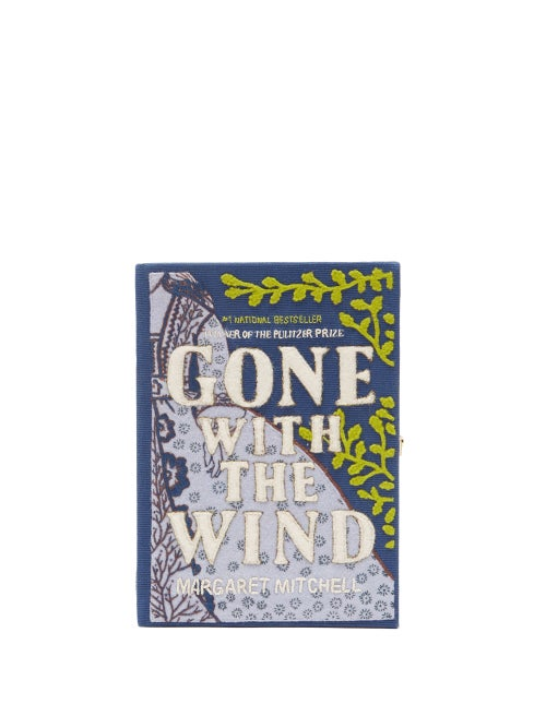 Olympia Le-tan - Gone With The Wind Embroidered Book Clutch - Womens - Blue Multi