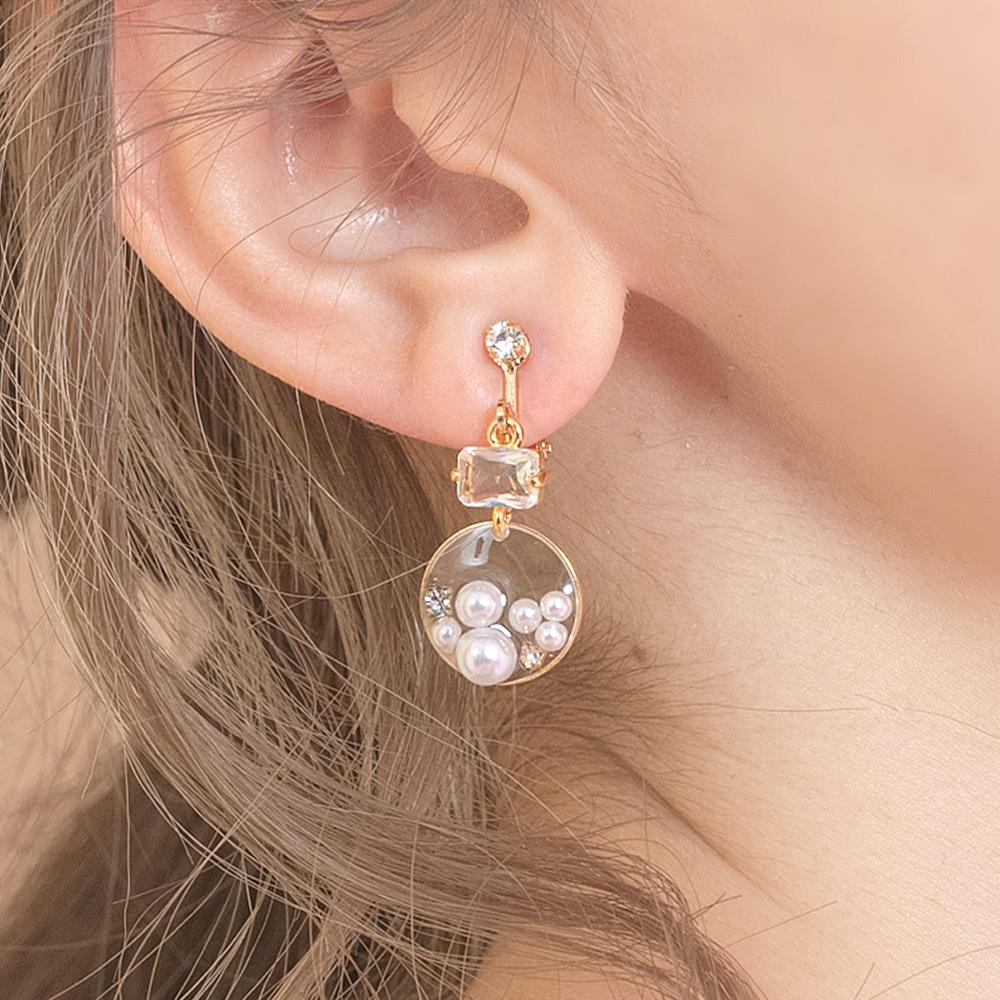 Hermu設計款-透明感珍珠綴鑽不對稱垂墜耳夾-B10221