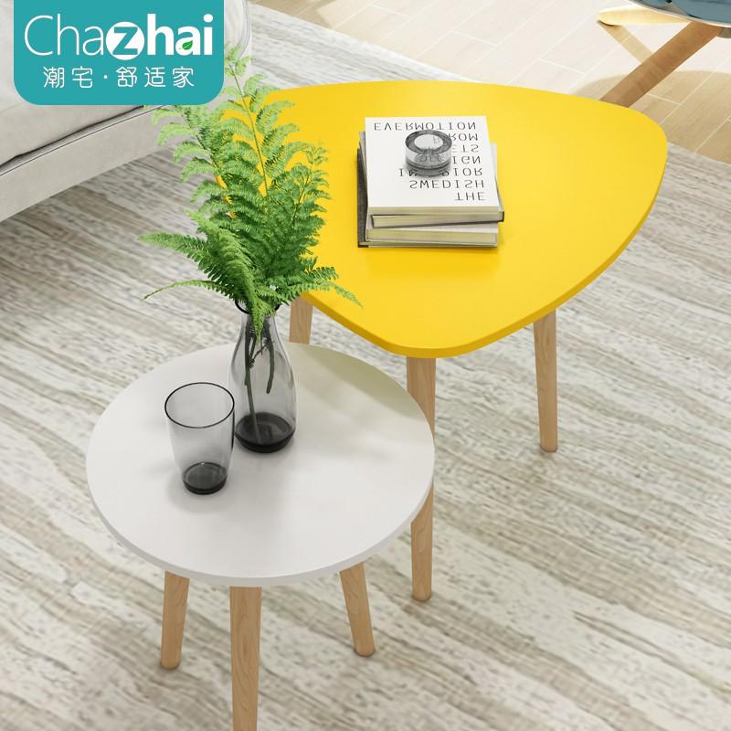 北歐小茶幾簡約迷你小桌子陽臺圓形咖啡桌沙發邊幾角幾簡易小圓桌