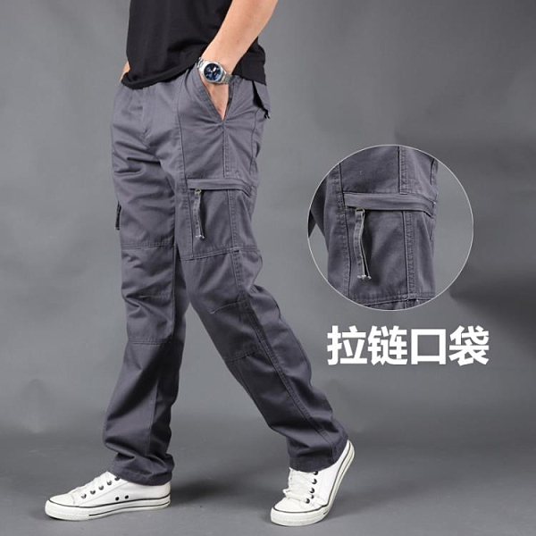 休閒褲男秋冬大碼多口袋工裝褲
