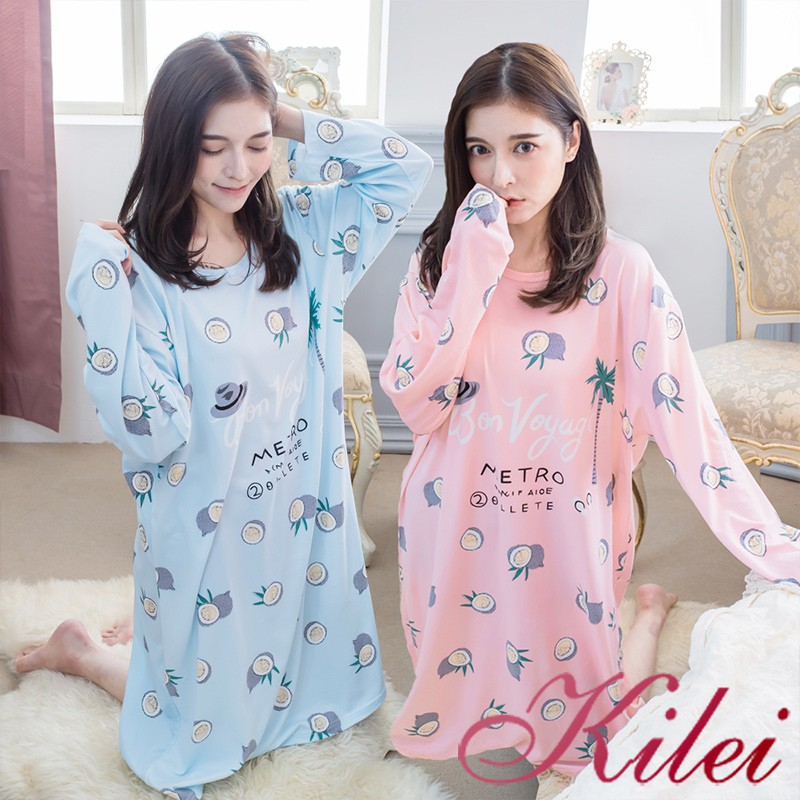 Kilei 四季薄款果子插畫圓領牛奶絲長袖連身睡衣XA4354(共二色)全尺碼 廠商直送