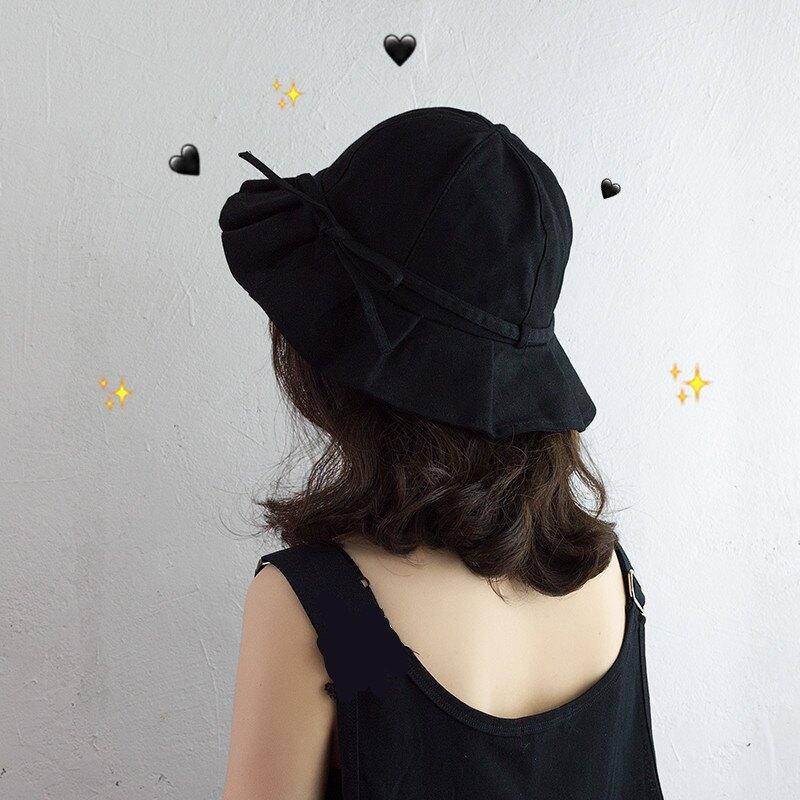韓版褶皺荷葉邊盆帽女可愛蝴蝶結軟妹漁夫帽小號頭圍夏天遮陽帽子1入