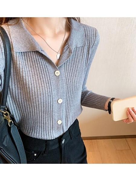 女秋季新款時尚洋氣翻領polo衫寬鬆外搭薄款毛衣外套