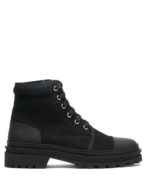 A.P.C. - Faustine Lace-up Canvas Ankle Boots - Womens - Black