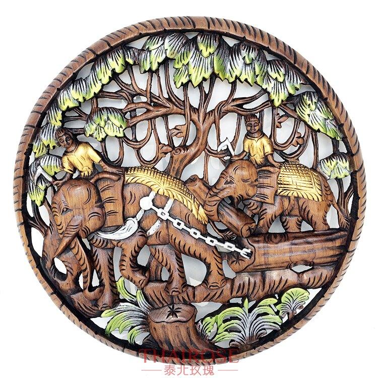 泰國柚木雕花板 大象拉木頭圓形雕花板 直徑60cm 墻壁飾品掛件畫1入