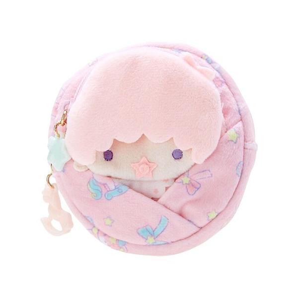 小禮堂 雙子星 Lala 造型絨毛零錢包組 玩偶零錢包 圓形零錢包 耳機包 (粉 45週年)