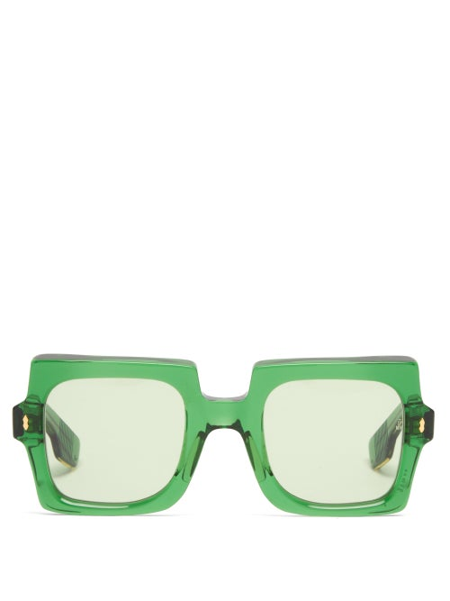 Jacques Marie Mage - Squeeze Square Acetate Sunglasses - Womens - Green