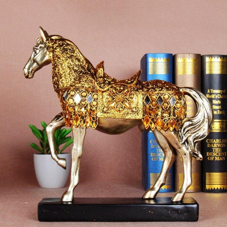 工藝品家居飾品馬上有錢歐式樹脂工藝品馬擺件 家居客廳裝飾禮品1入