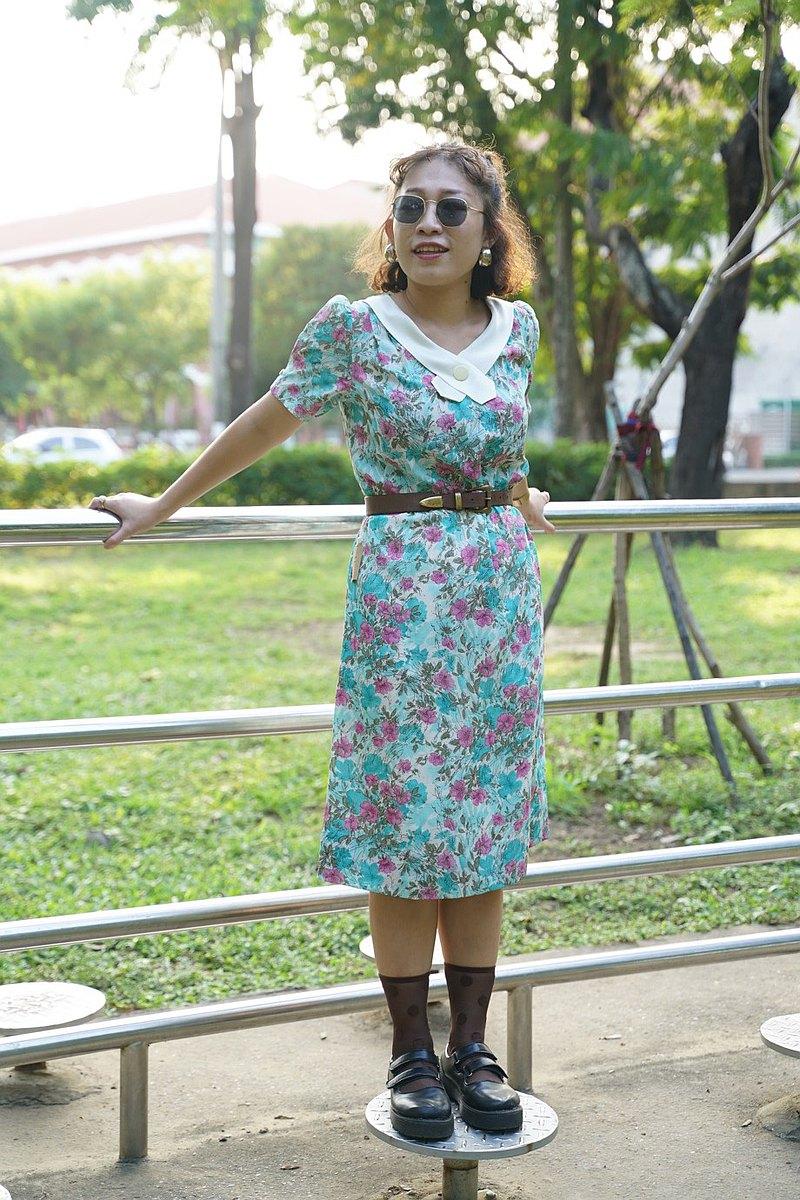 Vintage 古著 交叉領玫瑰藍洋裝 古董洋 | 純情百貨行