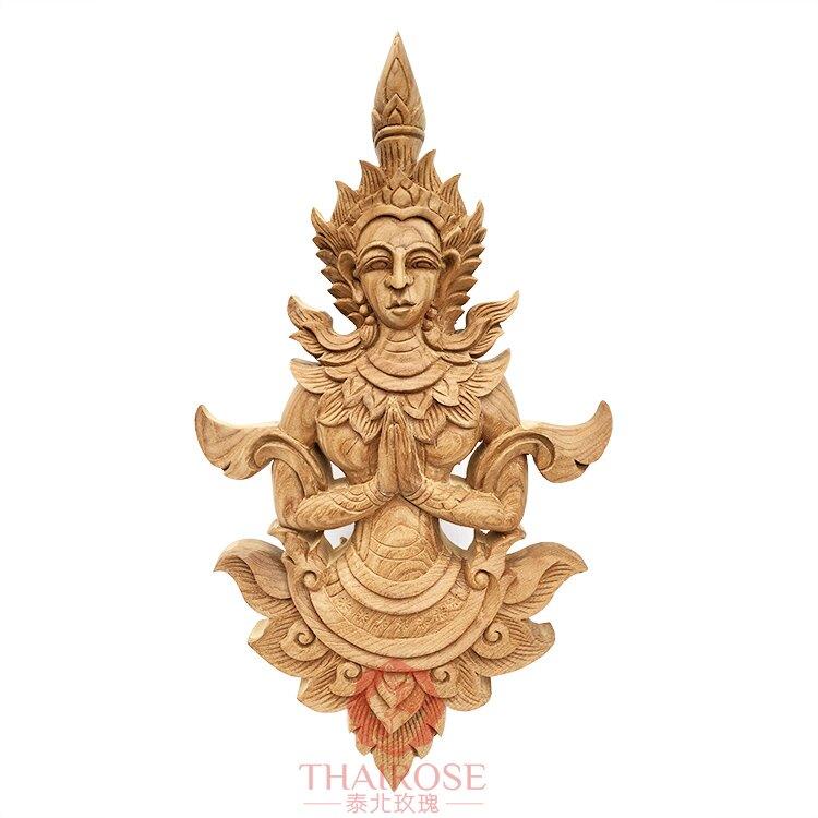 泰國手工雕刻工藝品 蘭納風格傳統人物木雕 實木壁飾掛件墻飾1入