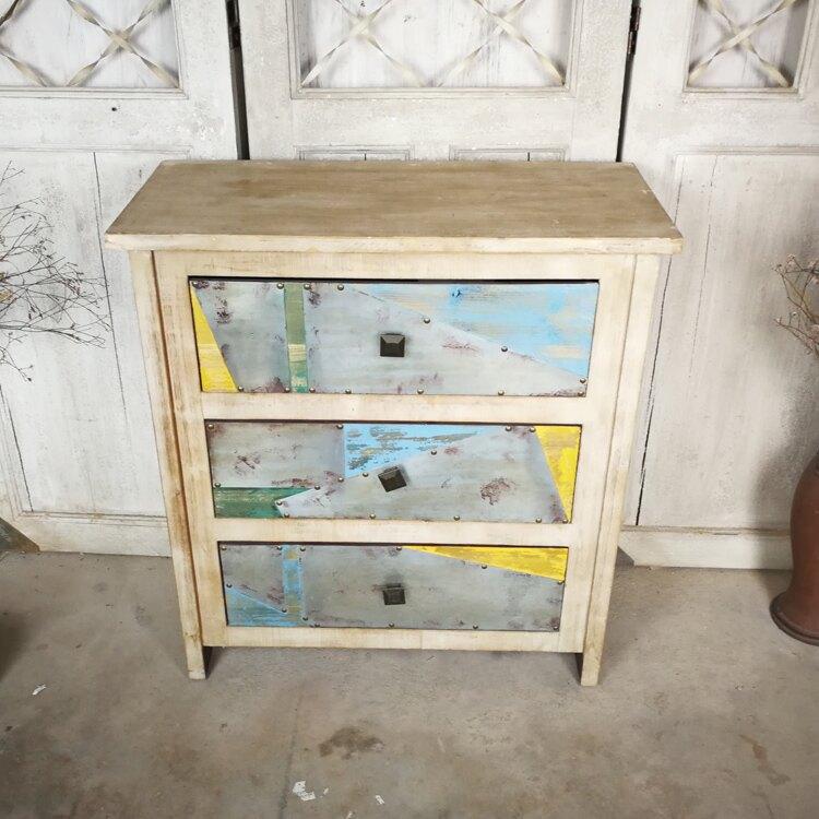 美式鄉村復古實木做舊三斗柜家居收納柜店鋪櫥窗裝飾柜子家具孤品1入