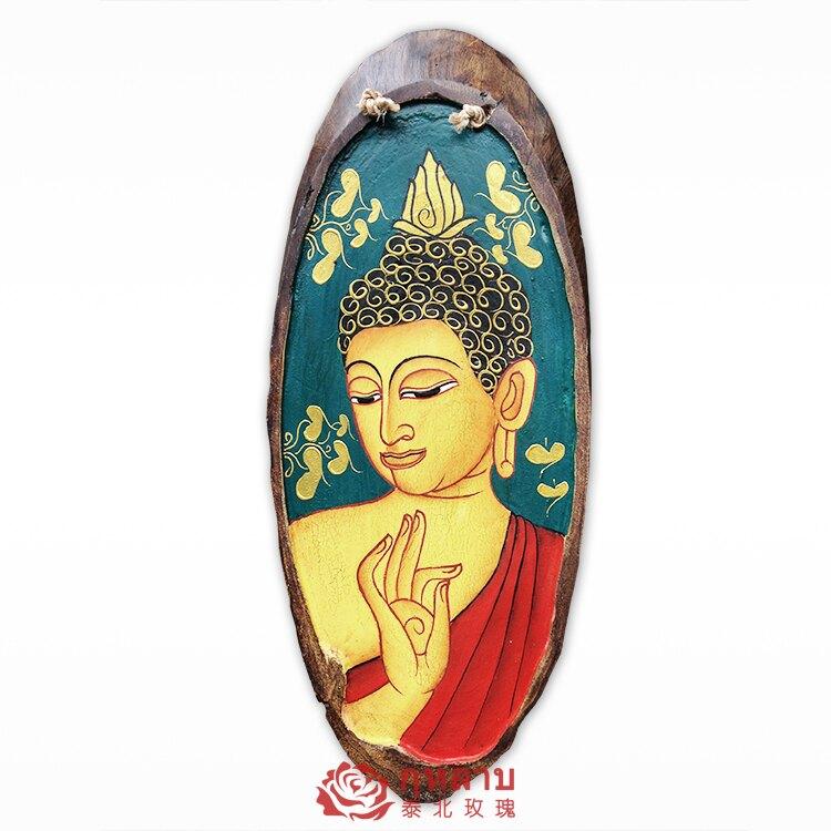泰國工藝品 柚木手繪佛像壁飾墻飾掛飾 客廳餐廳田園復古家居飾品1入