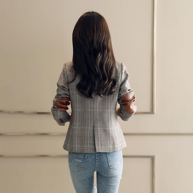 西裝外套 格子小西裝短外套女20212新款拼皮顯瘦網紅chic百搭西服 家家百貨