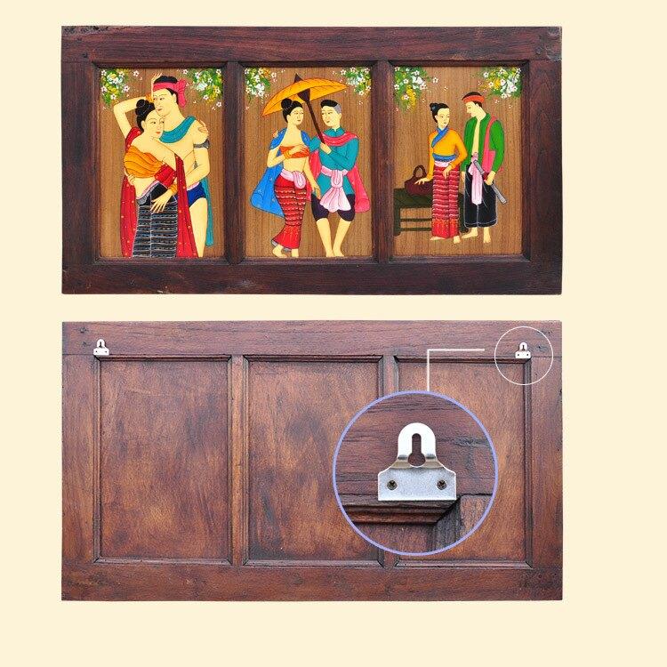 泰國工藝品人物手繪彩色抽象畫 客廳背景墻三聯實木現代裝飾畫1入