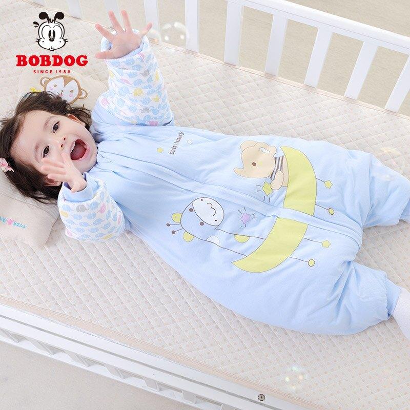 巴布豆睡袋嬰兒秋冬加厚純棉新生兒寶寶睡袋分腿兒童防踢被中大童