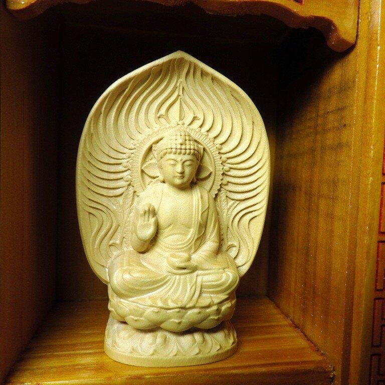 精品隨身佛龕 黃楊木藥師佛木雕佛像