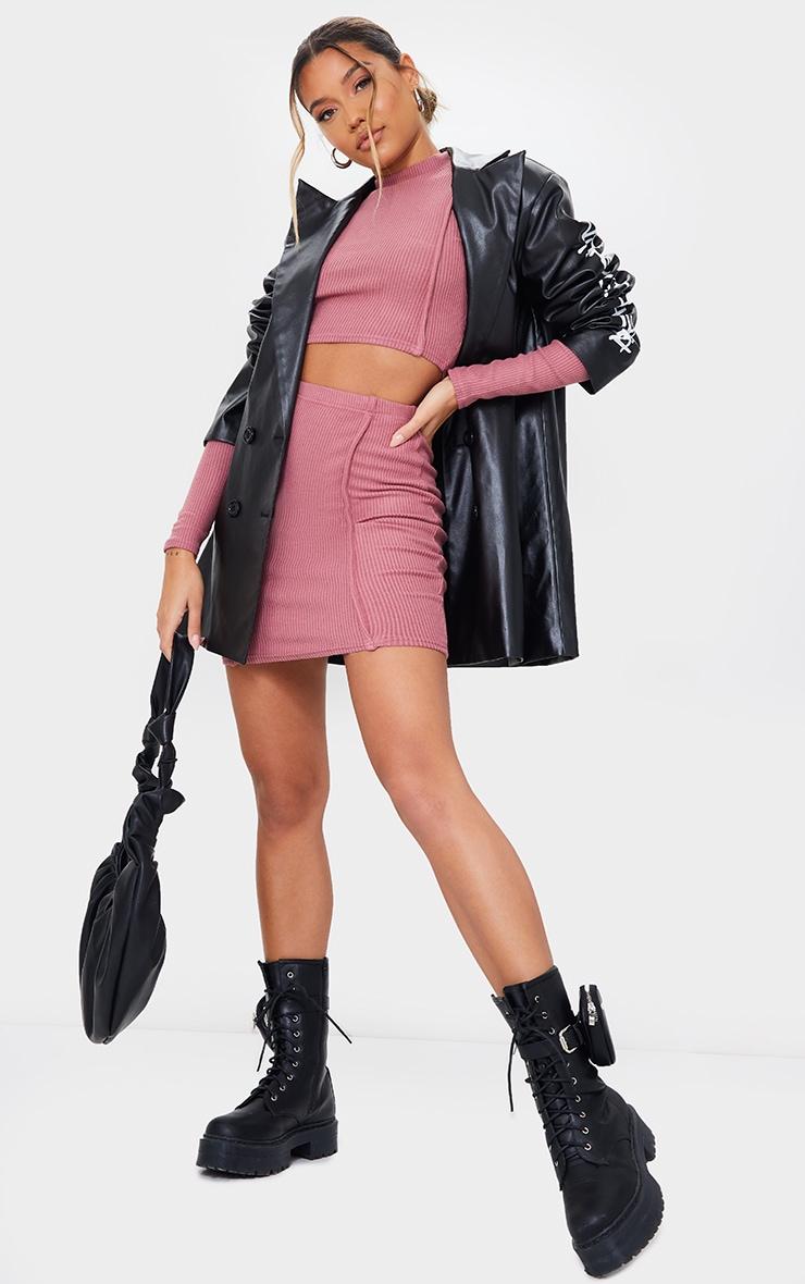 Mauve Brushed Rib Seam Front Mini Skirt