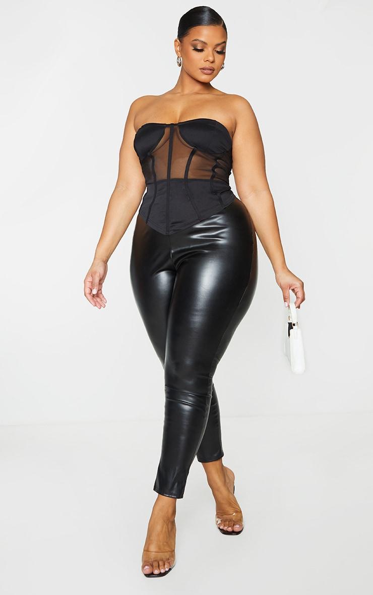 Plus Black Structured Mesh Corset