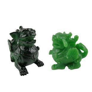 【限時優惠】陶瓷精品綠色麒麟神獸變色樹脂茶寵