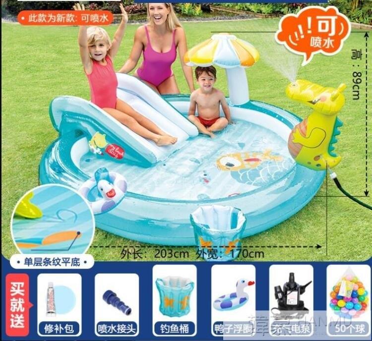 兒童游泳池嬰兒寶寶家庭大號充氣戲水池沙池釣魚噴水波波池